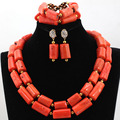 Latest Coral Beaded African Statement Necklace Set Nigerian Wedding Coral Necklace Earrings Bracelet Set Free Shipping CNR531