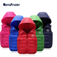 4-13T 2016 Warm Hoodies Baby Down Vests Children Waistcoats Girls Boys Outerwear&Coats warm Vest Kids Jackets Winter Kids Cloth
