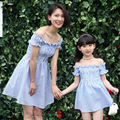 2016 summer dress mom and daughter dress girls princess strapless dress mommy and me clothes family look matching clothes