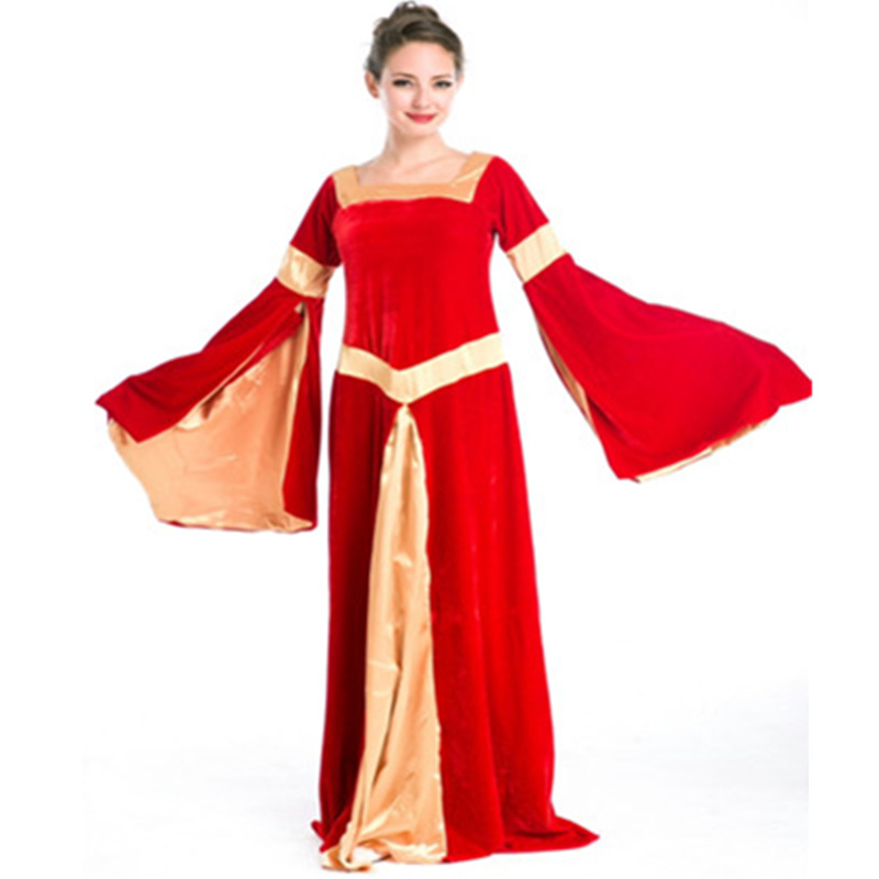 Blue Robe adult princess costume Gown sleeves disfraces red Cosplay halloween princess adult medieval dress