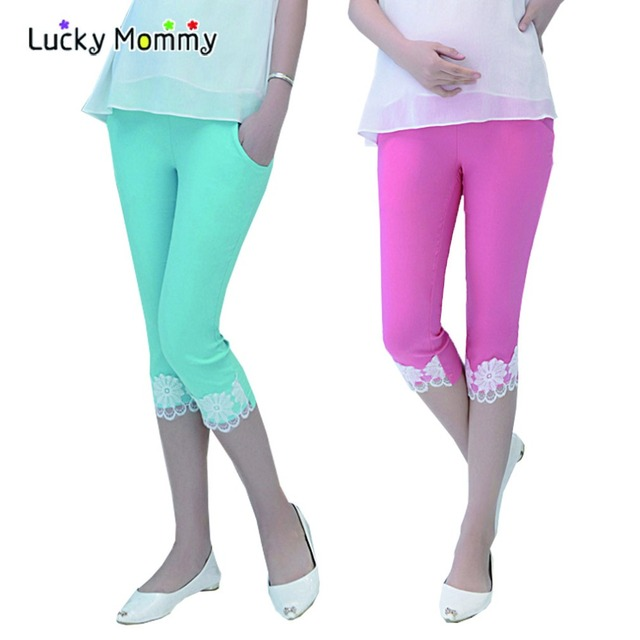 2 Color Slim Lace Pregnancy Shorts Fashion Elastic Waist Maternity Clothing for Pregnant Women Slim Maternity Capri Pants