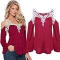 Women T shirt 2016 New V-neck Sexy Long Sleeve Tops Off Shoulder 4 Color Spring Summer T Shirt For Women