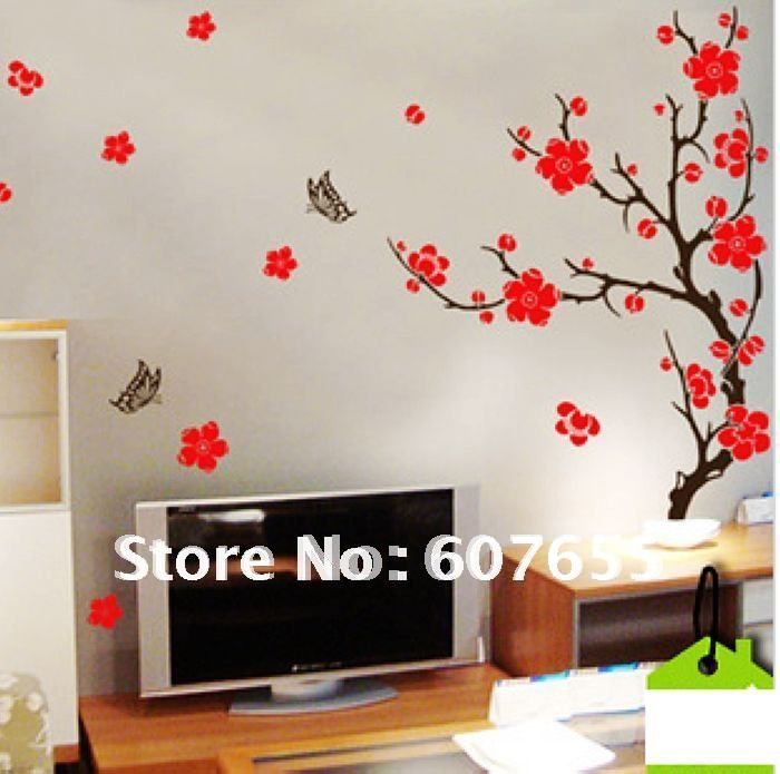 140cm30cmfree shipping5pclotwall decoration stickroom stickhouse stickerpeach blossom wall sticker in wall stickers from home garden on