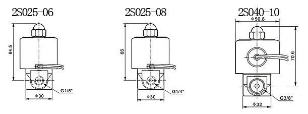 1/4 ''Электрический Соленоидный клапан из нержавеющей стали FKM 2S025-08 DC12V, DC24V, AC110V или AC220V