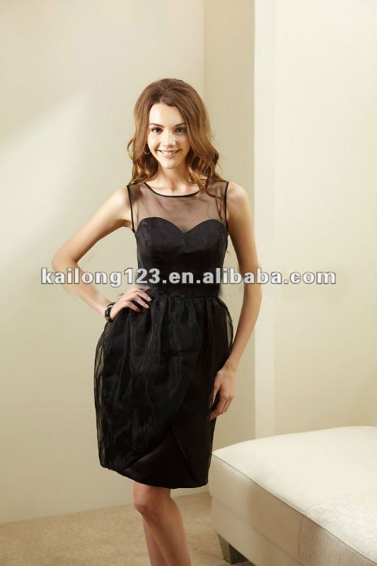 Charming Sleeveless Sheer Top Knee Length Satin Organza Black