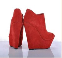 glx004b горячая распродажа замши клин женская сексуальное платье туфли красный