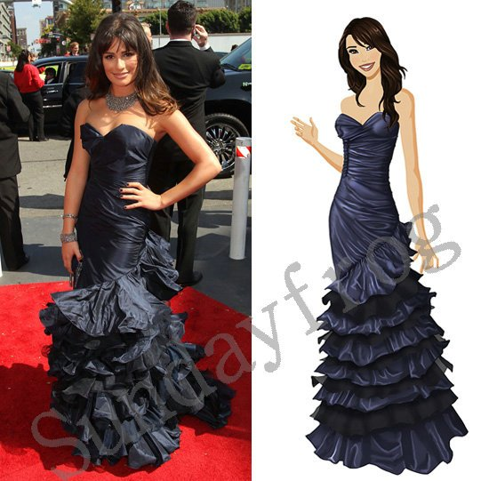 Lea Michele the 62nd Emmy Awards Red Carpet Celebrity Dress Sweetheart  Taffeta Mermaid Evening Dresses Formal 7c9fdbd33