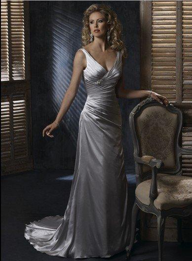 Silver Satin Wedding Dresses