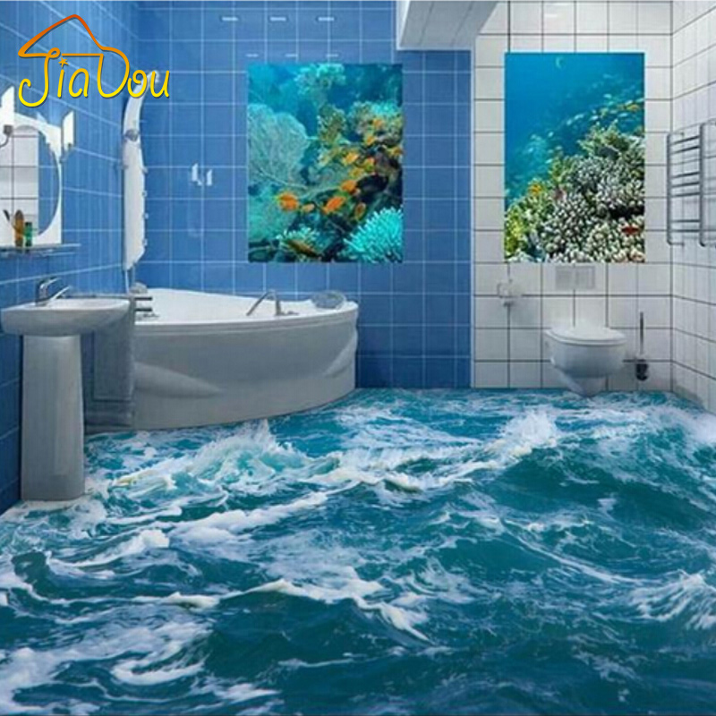 Custom Floor Wallpaper 3D Stereoscopic Seawater 3D Floor Mural PVC Self-adhesion Waterproof Bathroom Floor Wallpaper Sticker 3D custom baby wallpaper snow white and the seven dwarfs bedroom for the children s room mural backdrop stereoscopic 3d