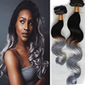 Popular Ombre Black Grey Clip In Hair Unprocessed Malaysia Virgin Hair Body Wave 10pcs/set Grey Clip In Human Hair Extensions