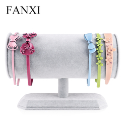 FANXI Creative T Bar  Three Colors Ice Velvet Fabric Jewelry Display Rack for Hairpin Display Jewelry Holder Organizer