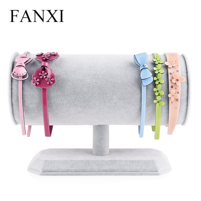 FANXI Creative ''T'' Bar Three Colors Ice Velvet Fabric Jewelry Display Rack for Hairpin Display Jewelry Holder Organizer