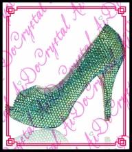 Aidocrystal Neue Design Handgemachte Grüne Strass Frauen Pumpt Sexy Offene spitze High Heel Frauen Schuhe Gute Qualität Kleid Pumpen
