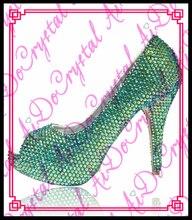Aidocrystal New Design Handmade Green Rhinestone Women Pumps Sexy Open Toe High Heel  Women Shoes Good Quality Party Dress Pumps