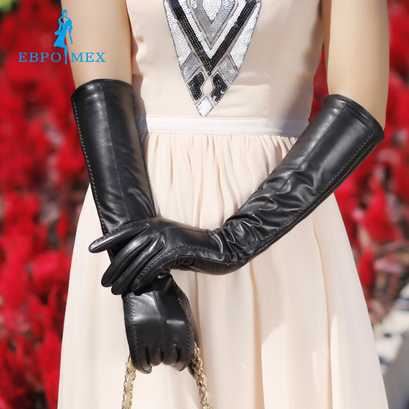 2016 fashion female leather <font><b>gloves</b></font> s,Genuine Leather,Cotton,Adult,Black,Length 45-48CM, Spandex, leather <font><b>gloves</b></font>
