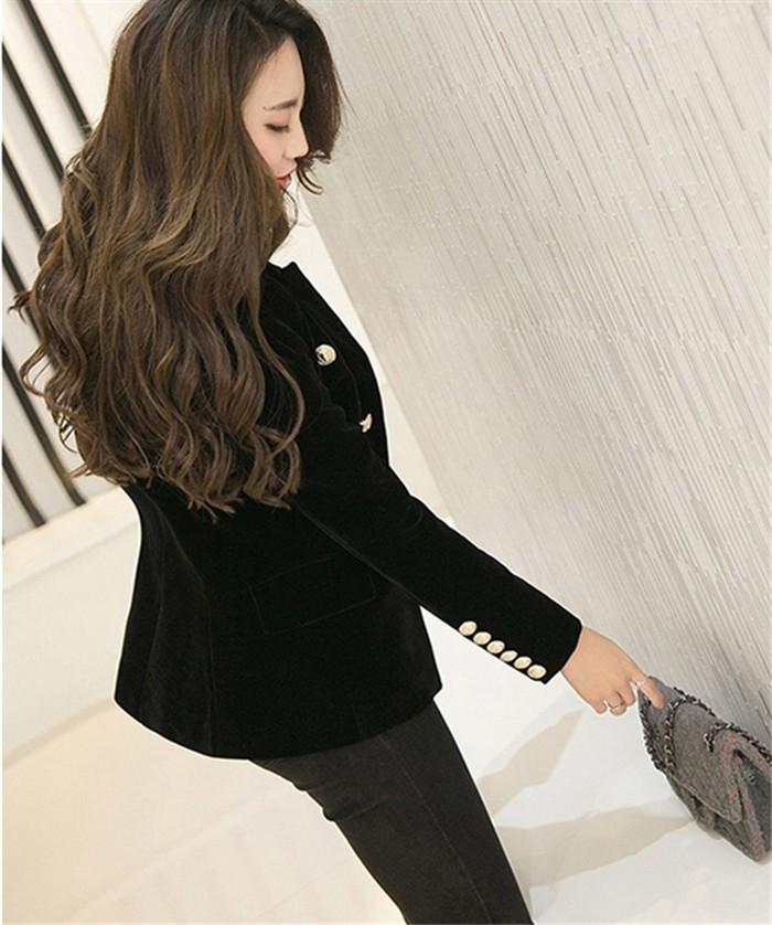 2016 New Spring Fashion Women Midnight Navy Slim Velvet Blazer Jacket Double Breasted simple Lady Blazers (14)