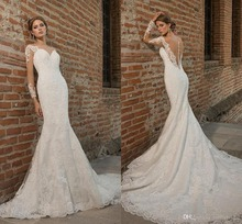 Sexy Illusion Deep V Back Court Train Mermaid Lace long Sleeve Wedding Dresses with Button in the back Appliques