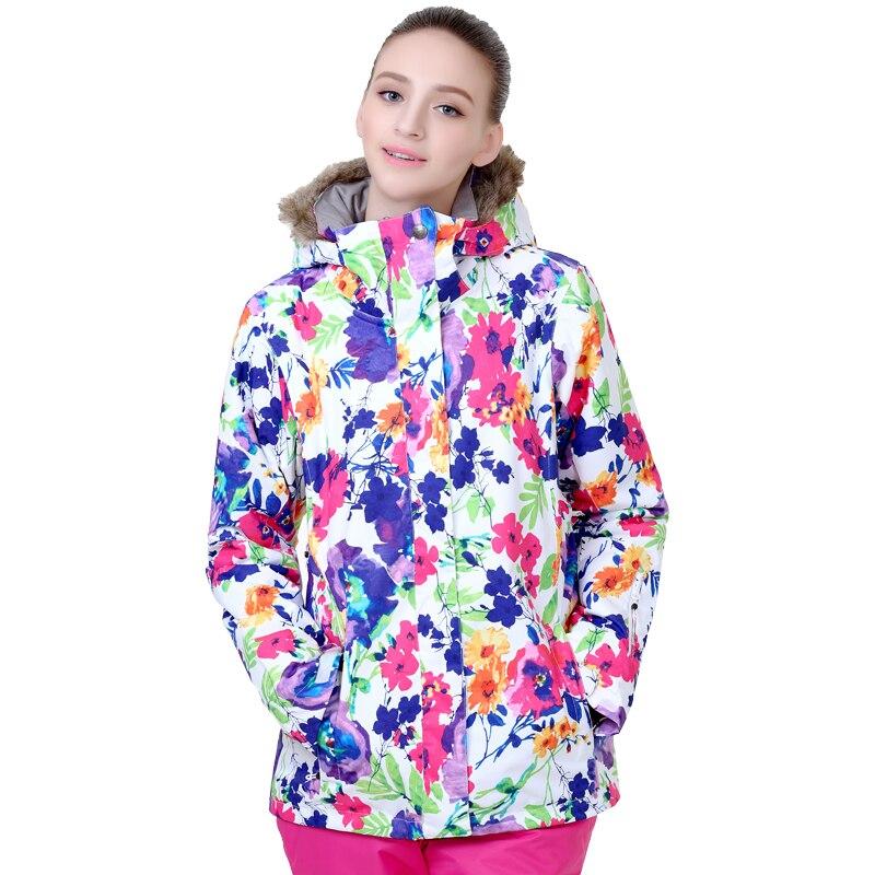 Prix pour Free shopping 2016 ski veste femmes placage double conseil de ski vêtements imperméables chaud épais col de fourrure ski veste