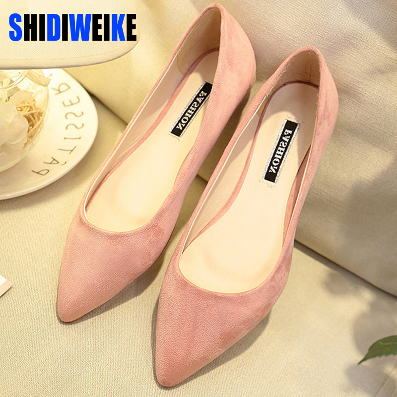 SHIDIWEIKE New Women Suede Flats Fashion High Quality Basic Mixed Colors Pointy Toe Ballerina Ballet Flat Slip On Shoes B587 2018 new women flats fashion soft bottom diamond pointy toe ballerina ballet flat slip on women shoes b201