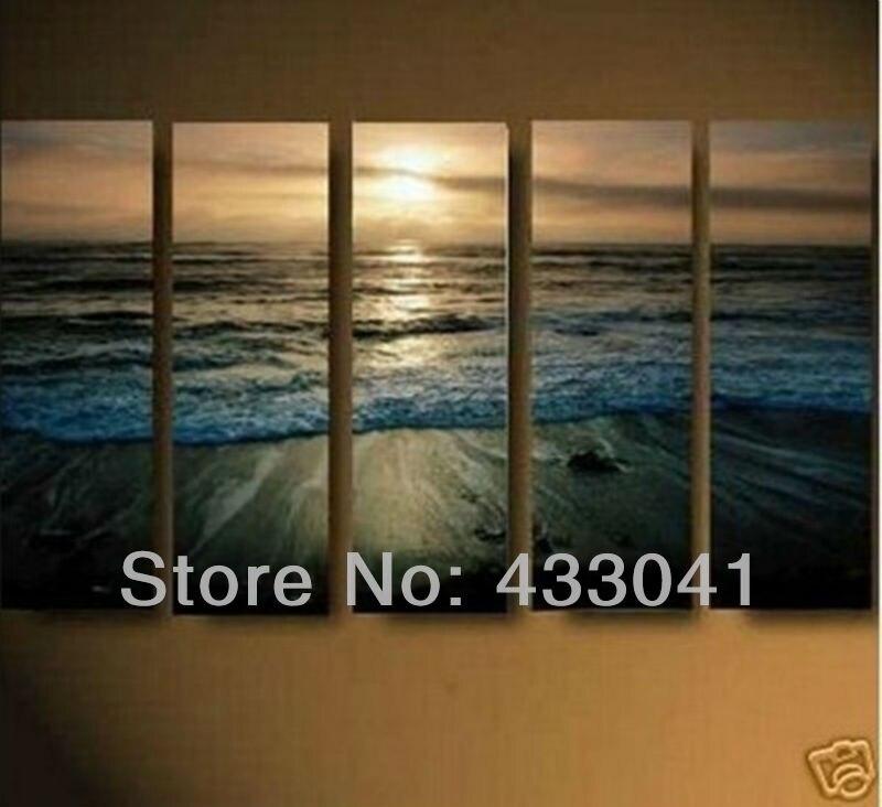 Cheap 5 Piece Set Modern Abstract Landscape Huge Wall Art Ocean ...