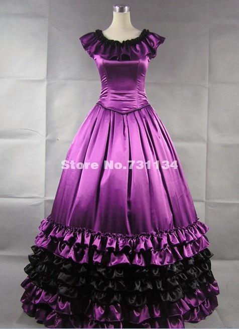 Великолепный и элегантность Высокое качество фиолетовая атласная Southern Belle викторианская эпоха Платья готический, викторианской эпохи платье в стиле Лолиты по индивидуальному заказу