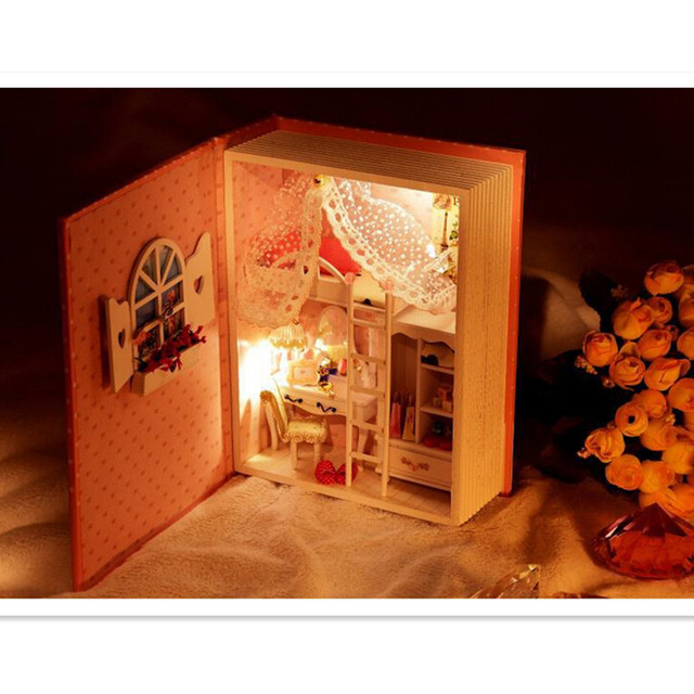 Wooden Doll House Of Baby Diary with Led lights,Creative Book Model Miniature Dollhouse Toy