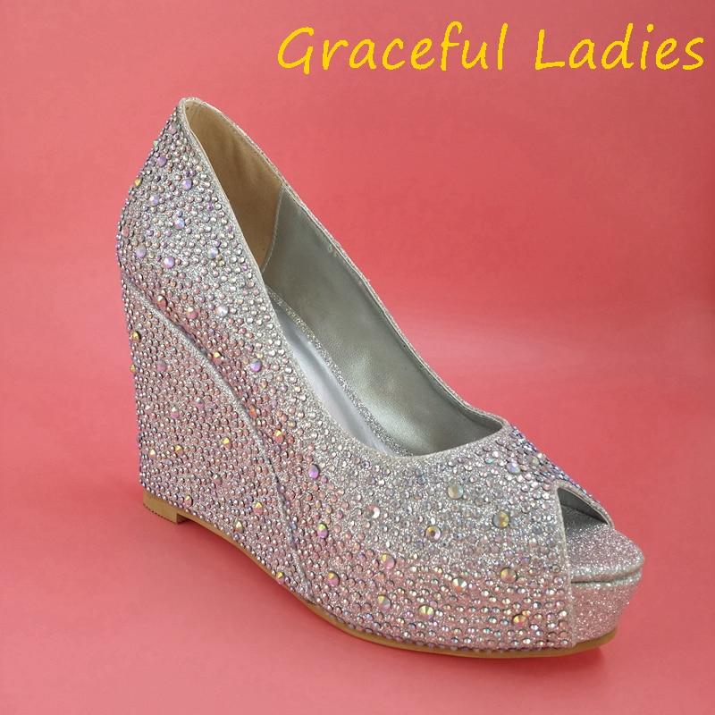 Rhinestone Crystal Women Sandals Wedges Slip On 2015