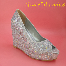 Rhinestone Crystal Women Sandals Wedges Slip On 2015 Wedding Shoes Silver Beads For Bridal Peep On Plus Size Real Image Fashion