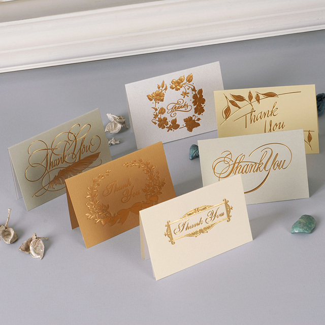 mini size 12set gold mix style thank you card leave message cards
