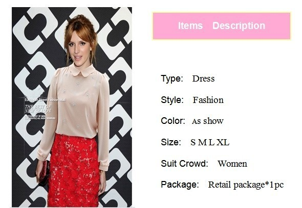 горячая распродажа новое поступление мода с длинным рукавом бисероплетение петер-пан-воротник шифон женщины рубашки з-fp5811