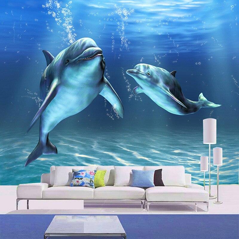 Customized size 3d marine animal cartoon dolphin photo for Dolphin mural wallpaper