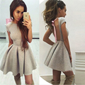 2017 Hot Sale Summer Sexy Party Dresses Princess Open Back Bow Backless O-neck Dresses Autumn Mini Bandage Dress Vestidos Robes