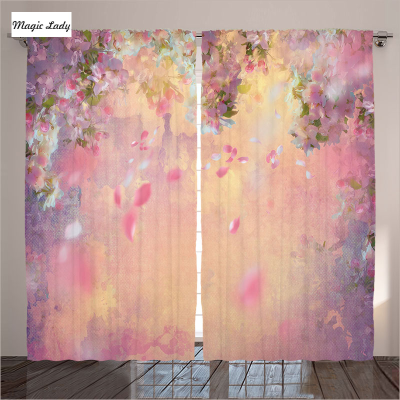 Bedroom Curtains And Drapes Cherry Blossom Traditional Style Art ...