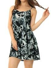 Allegra K Women U Neckline Skull Rose Prints Loose Cami Dress