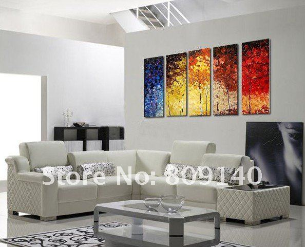 Stretched Contemporary Abstract Oil Painting Landscape Size Handmade Modern Home Office Hotel Wall Art Decor