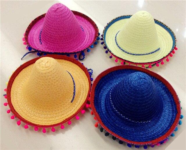 0d30c316d1 Sombrero mexicano Para Crianças Kids Show Pompom Chapéu Do Partido Chapéus  De Palha Adereços de Dança