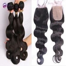 Brazilian Virgin Hair Silk Base Closure With Bundles 3 Bundles With Silk Closure Unprocessed Human Hair With Silk Base Closure