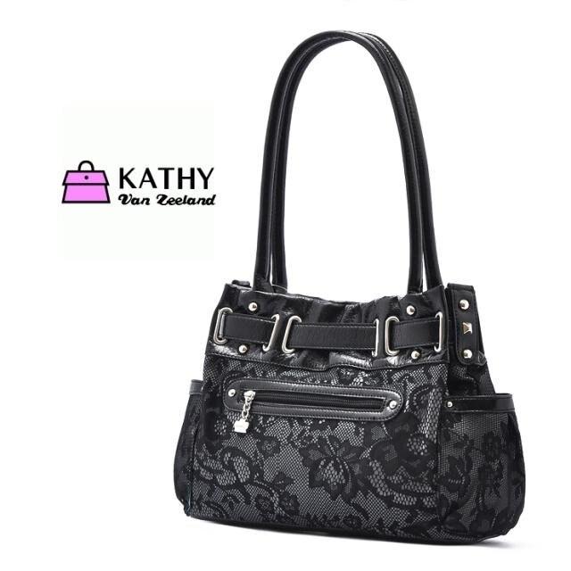 401e610052 Kathy Van Zeeland Handbag Black Lacer Tag Tote shoulder bag Crystal pendant