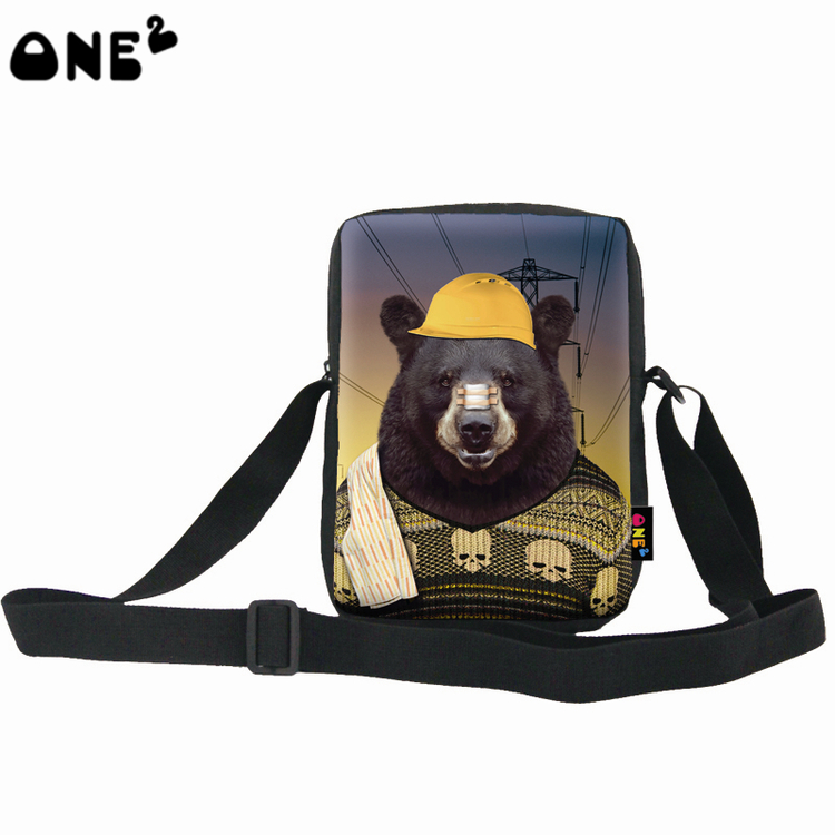2016 ONE2 Design Black Bear Low Cost Pattern Boys Single Shoulder Messenger BagChina