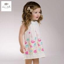 DB3382 дэйв белла лето девочка цветок платье принцессы ребенка lotus печатных малышей платья одежда рождения платье детские костюмы