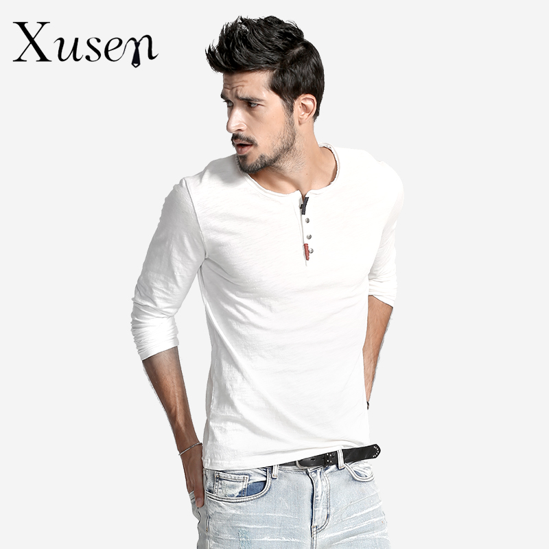New 2017 Henley Style T Shirt Men Slim Fit Cotton T Shirt: mens long sleeve white t shirt