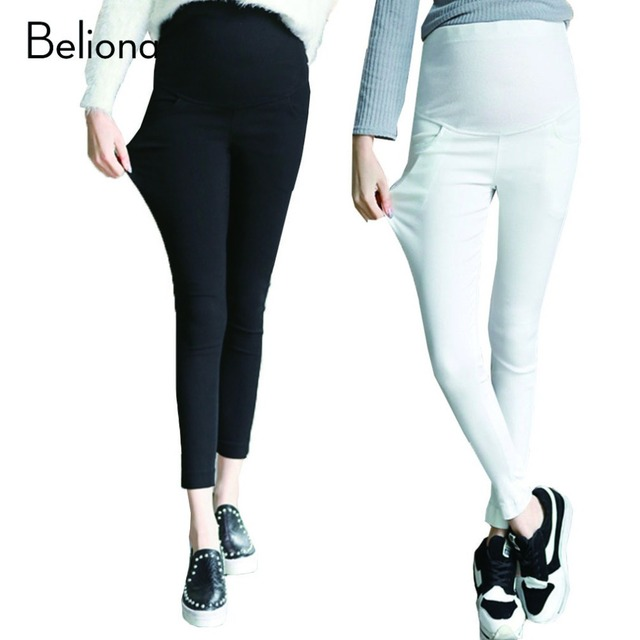Белый черный беременность леггинсы узкие беременным карандаш для беременных женщин весна лето эластичный пояс беременных брюки