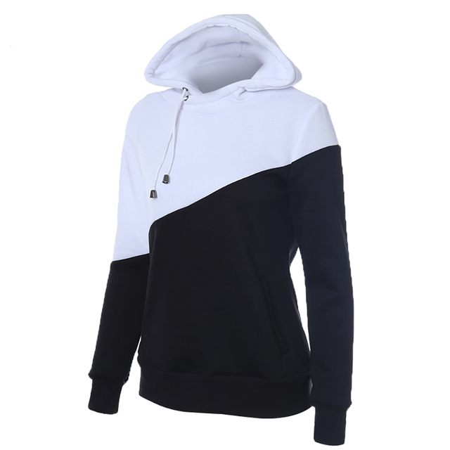 2016 Female Women's Black And White Color Drawstring Hooded Jacket With Pocket