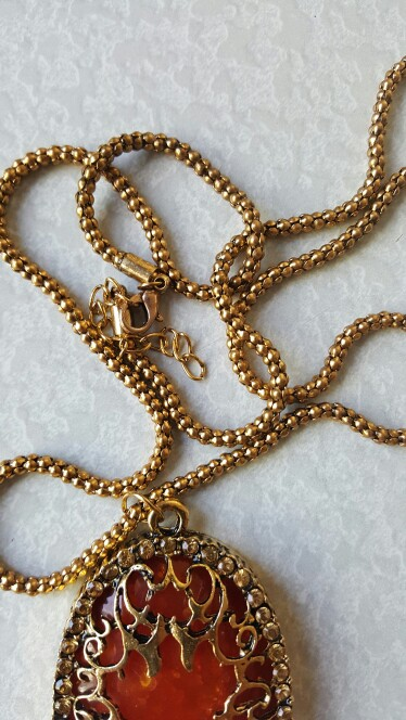 Necklace Peacock Pendant Created Cat Eye Stone Long Sweater Chain 31 Vintage Champgine Gold Plated