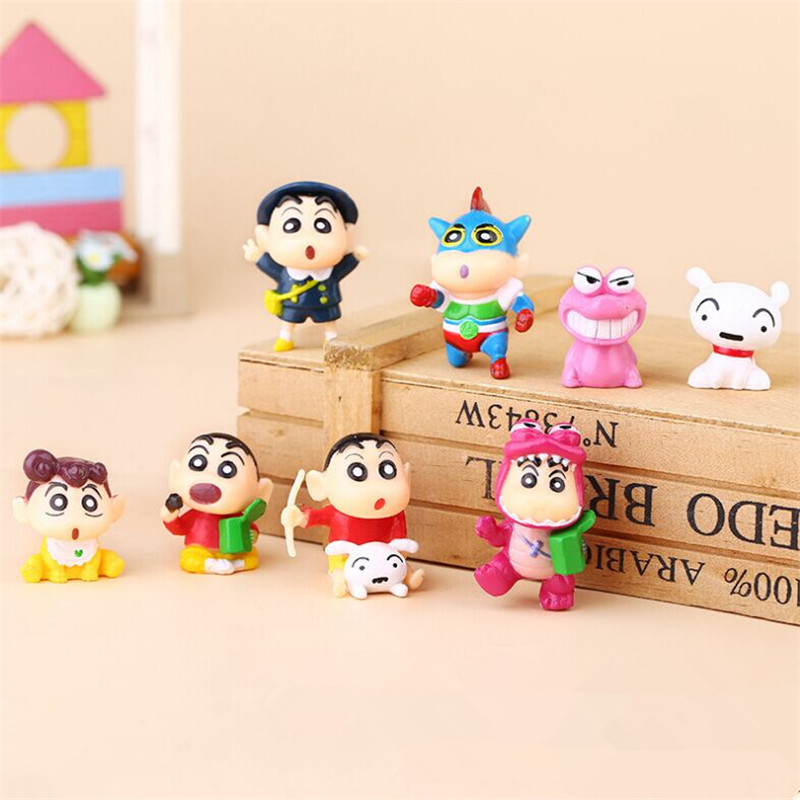 8pcs/lot 3-4cm PVC Crayon Shinchan Figure Toy, Cute Crayon Shin Chan Action Figure Models, Hot Cartoon Anime Brinquedos Kid Toys patrulla canina with shield brinquedos 6pcs set 6cm patrulha canina patrol puppy dog pvc action figures juguetes kids hot toys