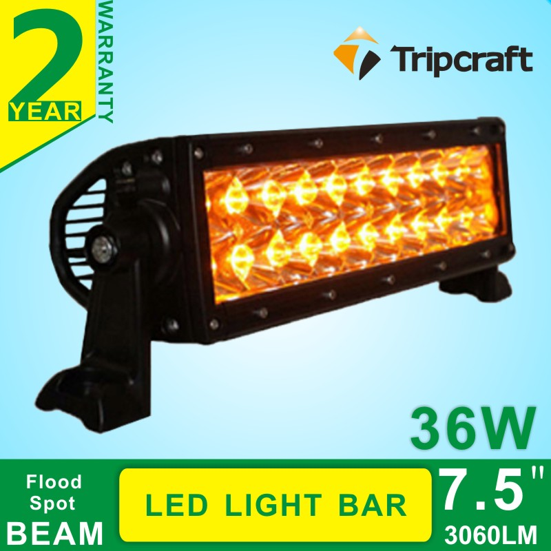 7.5 36W Cree LED Work Light Bar Lamp FOR Tractor Boat Off-Road 4WD 4x4 Truck SUV ATV Spot Flood ,white / amber changeable