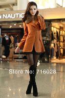 бесплатная доставка; осень и зима мода молния женское пальто / женский шерстяной верхняя одежда / женщин шерстяное пальто большой размер одежды
