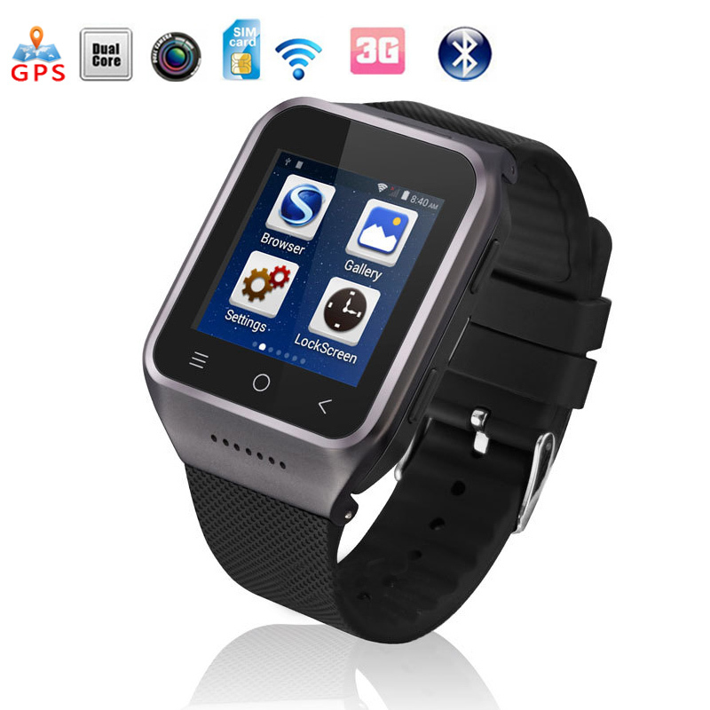 S8 3G Smartphone Smart Watch 1.5 Inch MTK6752 1.2GHz Dual Core HD Android 4.4 512M+4GB 2MP GPS WiFi Bluetooth4.0 FM Mobile Phone jiake f1w 5 0inch capacitive touch screen mtk6572 dual core 1 2ghz smartphone 512mb 4gb 2 0mp 0 3mp android 4 2 os 3g gps with protective case black