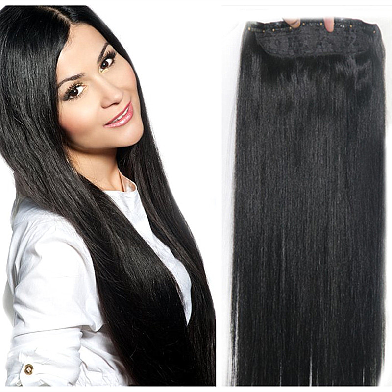 Full Shine One Piece Clip in Remy Human Hair Extensions Straght Color 1 Hair Brazilian Hair Free Shipping 50g With 5 Clips/Set
