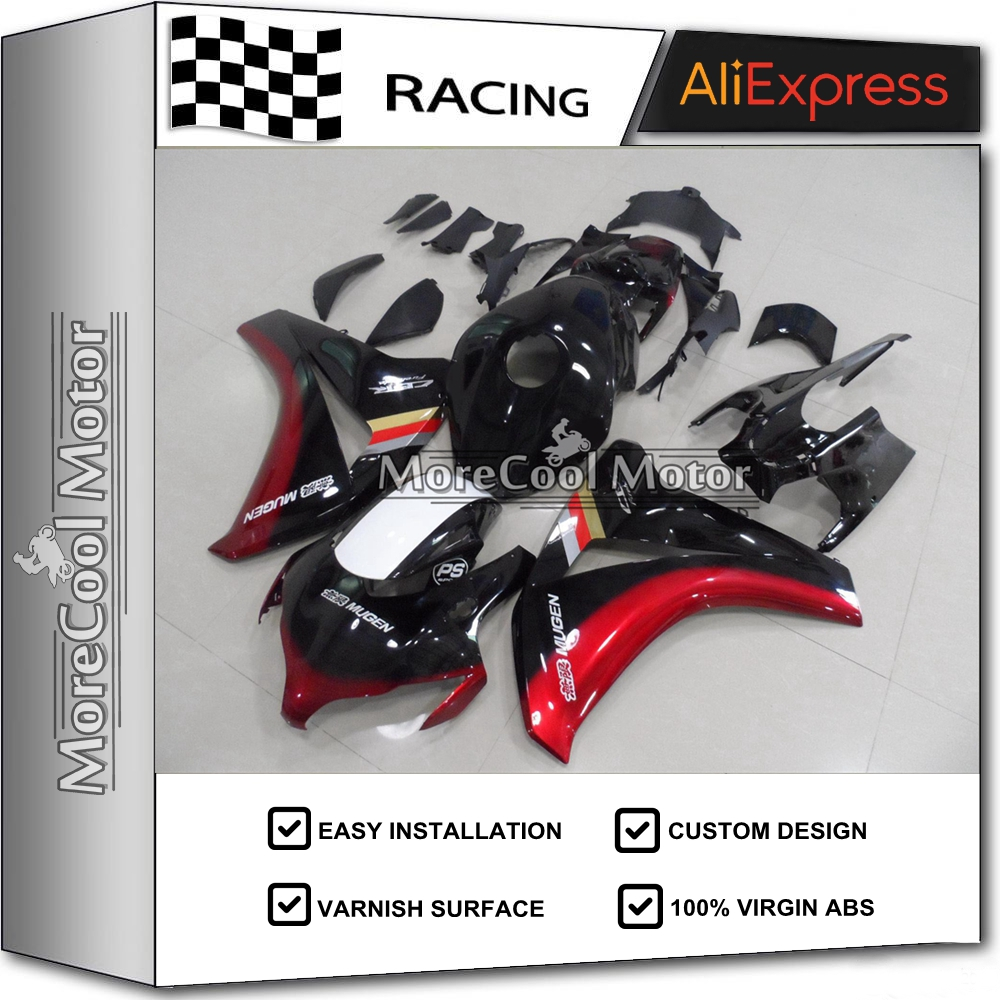 Thick Varnish Protection Motorcycle ABS Fairings kits For Honda 2008 2009 2010 2011 CBR1000RR Black&Red arashi motorcycle radiator grille protective cover grill guard protector for 2008 2009 2010 2011 honda cbr1000rr cbr 1000 rr